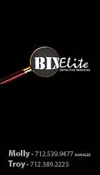 Bix Elite business cards, side one